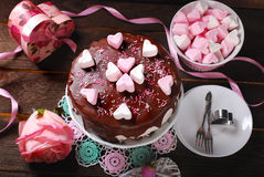 Valentines day cake with heart shaped marshmallow decoration Stock Images