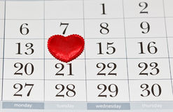 Valentines Day calendar. Calendar with heart on Valentines Day Stock Images