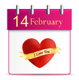 Valentines day calendar date february Royalty Free Stock Images