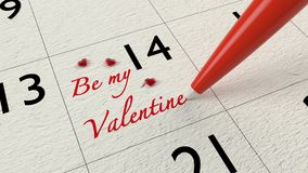 Valentines day calendar entry with glass hearts Royalty Free Stock Images