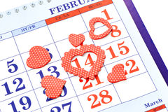 Valentines Day. Calendar Valentines Day with 14 February Stock Photo