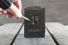 Valentines day calendar. 14 february. Stock Image