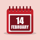 Valentines day. Calendar with 14 february in a flat design vector illustration