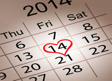 Valentines Day Calendar. February 14 of Saint Vale Royalty Free Stock Image