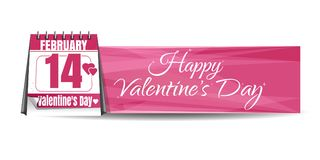 Valentines Day calendar. Calendar with festive date against the backdrop of a greeting card. 14th February. Pink banner. Happy Valentines Day. Vector Stock Photo