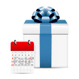 Valentines day on calendar with gift box. On white background Stock Image