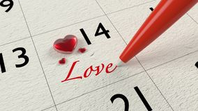 Valentines day calendar with glass hearts Stock Photography
