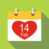 Valentines day calendar icon, flat style Royalty Free Stock Photo
