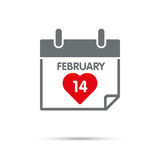 Valentines Day on Calendar Icon Royalty Free Stock Photography
