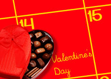 Valentines Day with Calendar and Love Chocolate Royalty Free Stock Photography
