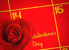 Valentines Day with Calendar and Love Rose Background Royalty Free Stock Photography