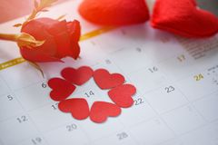 Valentines day calendar love time concept Calendar page with red heart on February 14 of Saint Valentine`s day red heart stock image
