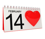 Valentines Day Calendar Page with Heart Royalty Free Stock Photos