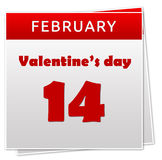 Valentines Day. Calendar page showing 14 February for Valentines Day celebration Stock Photos