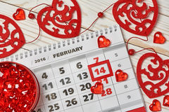 Valentines day. Calendar Valentines day and red hearts Stock Image