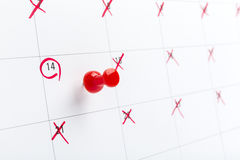 Valentines day on calendar with red pin Stock Images