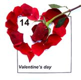 Valentines Day Calendar with red rose Royalty Free Stock Photo