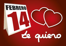 Valentines day calendar sheet 14 febrero te quiero Stock Images