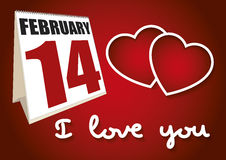 Valentines day calendar sheet february 14 I love you Royalty Free Stock Image