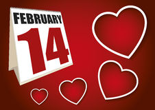 Valentines day calendar sheet february 14 Royalty Free Stock Photography