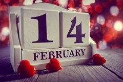 Valentines day calendar showing14 February royalty free stock image