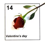 Valentines Day Calendar with single rose Royalty Free Stock Images