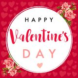 Happy Valentines Day lettering, hearts and rose greeting card Royalty Free Stock Images