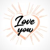 Love you lettering heart and beams greeting card Royalty Free Stock Photos