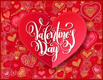Valentines day calligraphy design on red paper hand drawing hear Royalty Free Stock Image