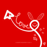 Valentines Day Calligraphy Greeting Card. Royalty Free Stock Photos
