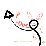 Valentines Day Calligraphy Greeting Card. Stock Photos