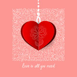 Valentines Day Calligraphy Greeting Card. Stock Photography