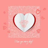 Valentines Day Calligraphy Greeting Card. Royalty Free Stock Photo