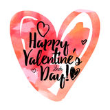 Valentines Day calligraphy hearts Royalty Free Stock Photography