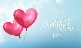 Valentines day calligraphy lettering text on valentine red heart on blue light pattern background. Vector Happy Valentines day gre. Eting card design template of Royalty Free Stock Image