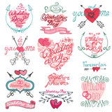 Valentines day calligraphy set.Frame,arrows,hearts Royalty Free Stock Images