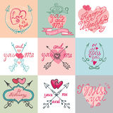 Valentines day calligraphy set. Valentines day,romantic elements collection Royalty Free Stock Photography