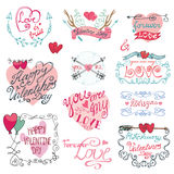 Valentines day calligraphy set. Valentines day,romantic elements collection Stock Image