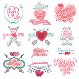 Valentines day calligraphy set. Valentines day,romantic elements collection Stock Photography