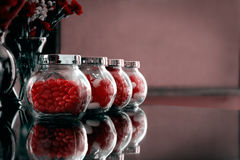 Valentines day candies in jars Royalty Free Stock Images