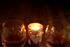 Valentines Day Candlelight Drinks Stock Photo