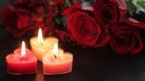 Valentines Day candles and roses. Static shot of Valentines Day items in hd stock video
