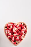 Valentines Day Candy Corn In Heart Shaped Bowl Royalty Free Stock Images