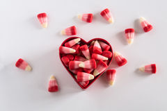 Valentines Day Candy Corn Sweets In Heart Shape Stock Images