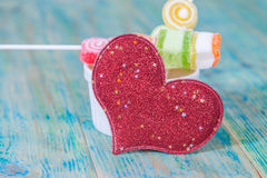 Valentines Day candy in glass Stock Photography