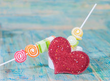 Valentines Day candy in glass Royalty Free Stock Image