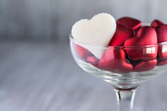 Valentines Day Candy Hearts in Wine Glass Love Symbols Stock Image