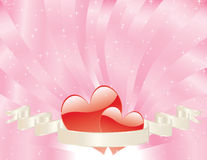 Valentines day card. Two red hears tucked into a banner with a swirling shiny pink sunburst background sparkling with stars Stock Photography