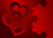 Valentines Day card. With two gold hearts Stock Photo