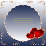Valentines day card. Square card by day of Valentine in dark blue tones, with red hearts and a pearl framework. There is a variant in a vector Stock Photos